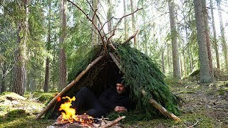24h Bushcraft With One Tool - Survival - Natural Shelter - Foraging