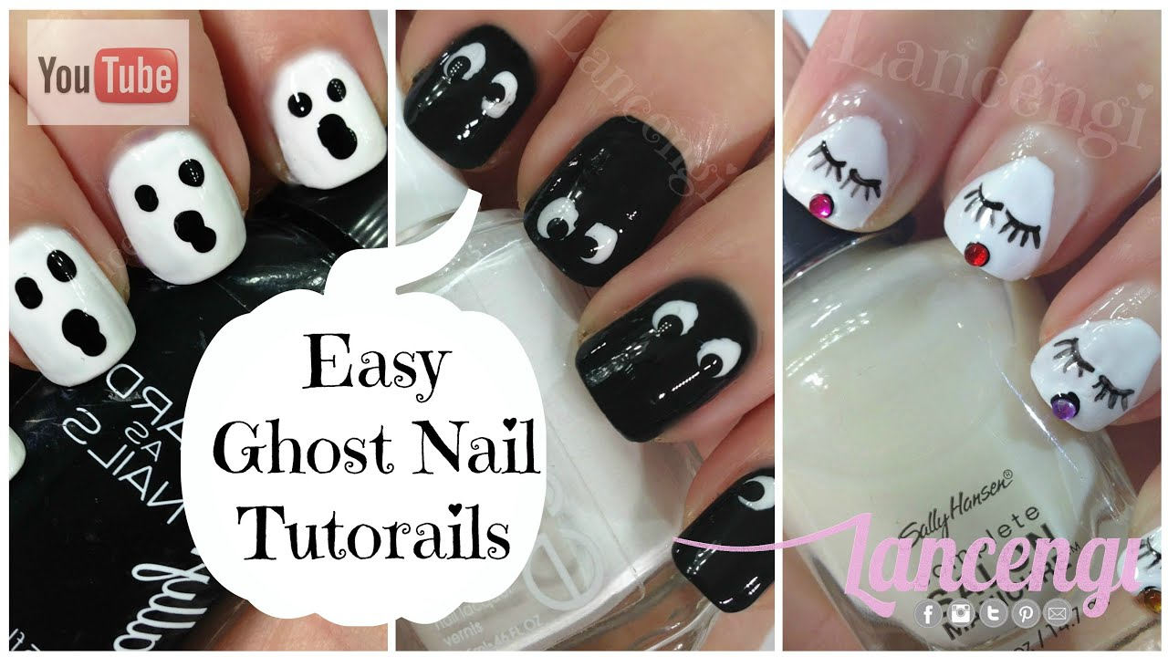 Diy halloween nail art cute easy ghost nails youtube Nail design ideas to do at home