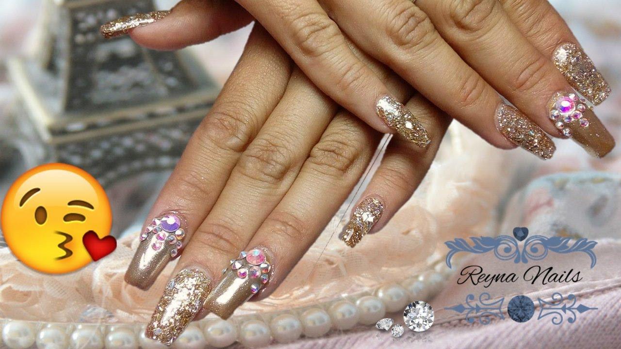 U as en dorado efecto espejo reyna nails youtube - Pintaunas efecto espejo ...