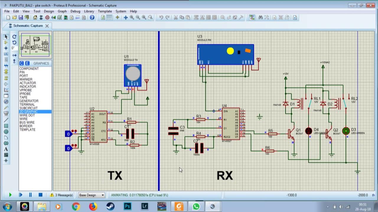 Remote Switching dengan IC HT12D dan HT12E dan telemetry 433 MHz  menggunakan Proteus 8