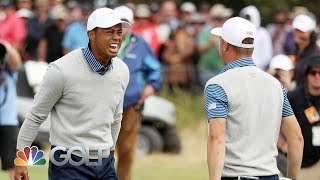 Tiger Woods watches as Justin Thomas drains putt to win vital point | Presidents Cup | Golf Channel
