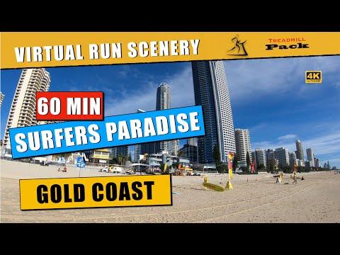 Virtual Run 60 Minutes Surfers Paradise, Gold Coast, Australia | No Music | 4K