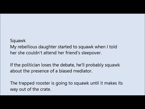 Squawk word in sentence with pronunciation