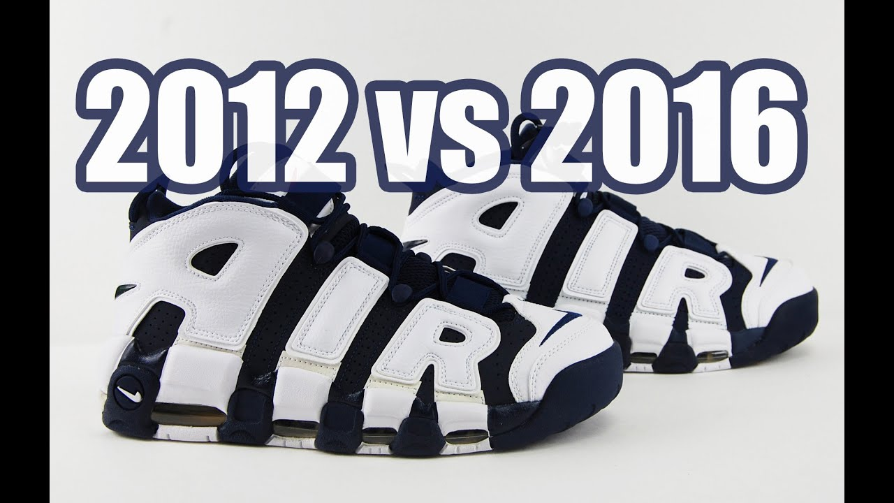 bfe6c5d75e0e7 2016 vs. 2012 Nike Air More Uptempo Olympic Comparison - YouTube