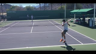 Roger Federer and Stefan Edberg 2014 Indian Wells Practice 3.8.14 BNP Paribas Open
