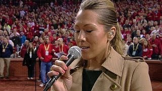 Colbie Caillat performs national anthem before Game 3 of the 2013 World Series