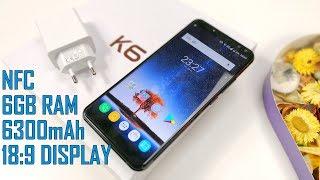Oukitel K6 Unboxing ( NFC, 6GB RAM, 6300mAh, 18:9 Display, Octa-Core Helio P23, Face ID )