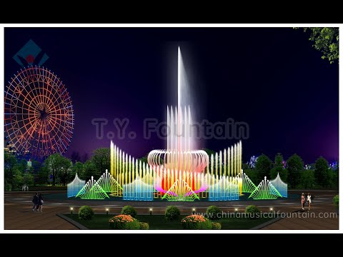 Music dancing fountain with water screen projection laser show