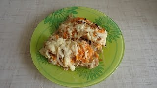 Горбуша, запеченная с сыром в духовке.