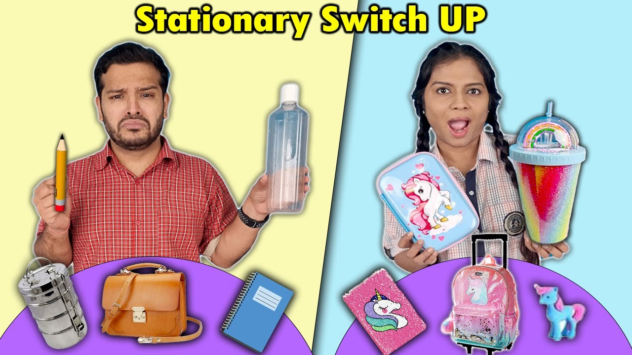 Stationary SWITCH UP Challenge | Awesome School Supplies | Hungry Birds