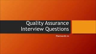 Quality Assurance Interview Questions in Pharmaceutical Industry  || Training 4 Freshers -1