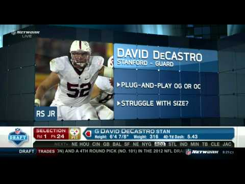 2012 NFL Draft Round 1 Pick 24 Pittsburgh Steelers Draft David DeCastro From Stanford