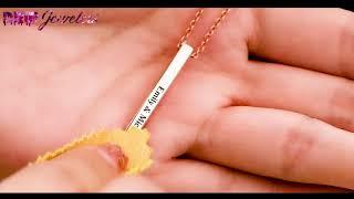 3D Engraving Vertical Bar Necklace
