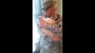 Cat Welcomes Home Soldier (awesome) thumbnail