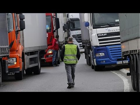 Transport companies hold protest in Brussels against French law