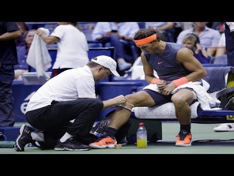 Rafael Nadal retires after 2 sets against Juan Martin del Potro after suffering knee pains.