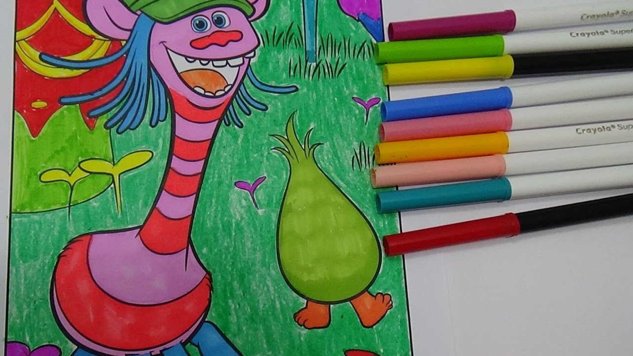 Trolls coloring pages fuzzbert - Trolls Movie Coloring With Cooper And Fuzzbert Colouring Book Crayola For Kids