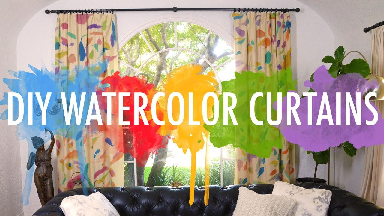 diy watercolor curtains mr kate youtube