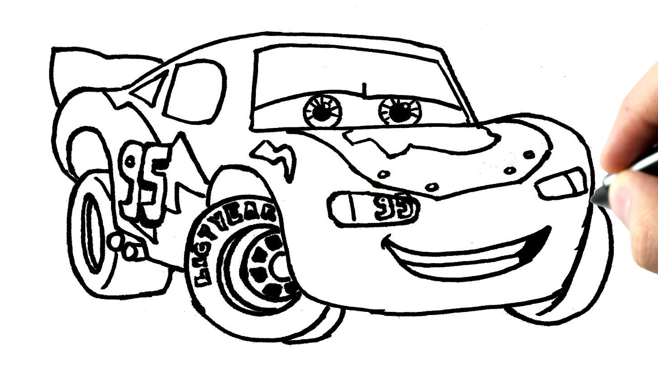 Comment dessiner flash mcqueen cars tutoriel youtube - Car coloriage ...
