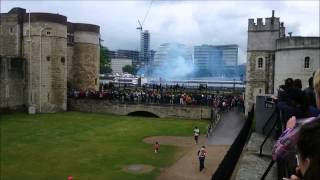 Queen Elizabeth IIs Official Birthday 62 Gun Salute Tower of London 14th June 2014