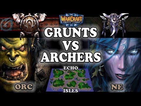 Grubby | Warcraft 3 The Frozen Throne | 1.26 | ORC v NE - Grunts vs Archers - Echo Isles