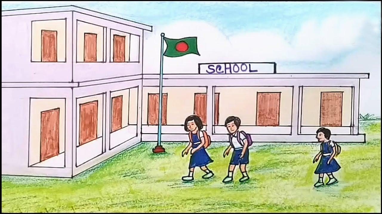 How To Draw Scenery Of School Step By Step Youtube
