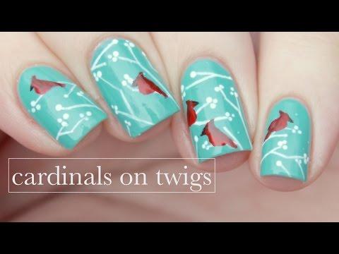 Minimalistic Cardinals on Twigs | Nail Art