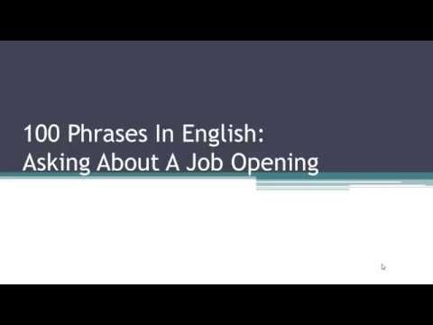 100 English Phrases For Job & Work - A Job Interview Dialogue