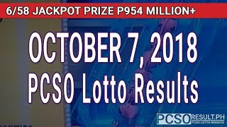 PCSO Lotto Results Today October 7, 2018 (6/58, 6/49, Swertres, STL & EZ2)