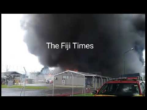 MH warehouse at Walu Bay on fire.