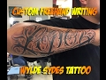 Custom freehand forearm writing by: Lalo (Wylde Sydes Tattoo)