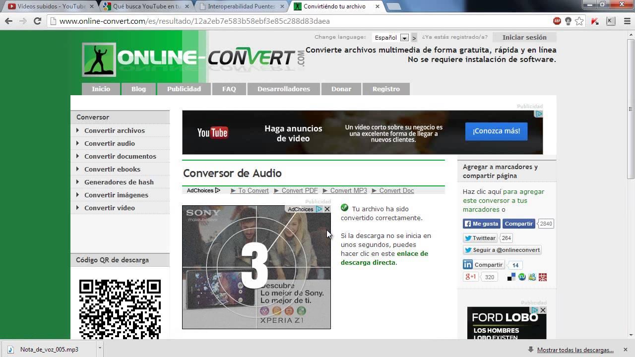 convertidor de audio a mp3 rapido y seguro - YouTube
