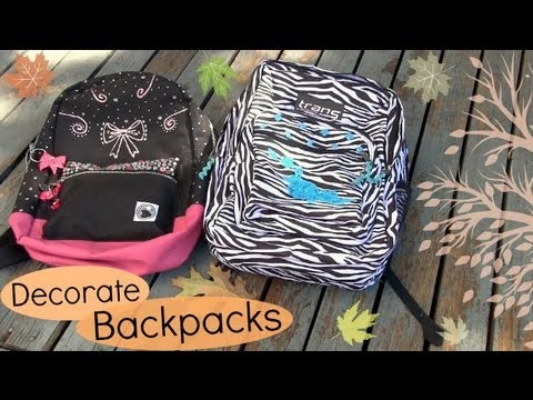 Decorate backpacks bookbags back to school diy youtube for Bag decoration ideas