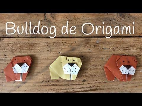 Perro de papel bulldog, origami fácil para niños