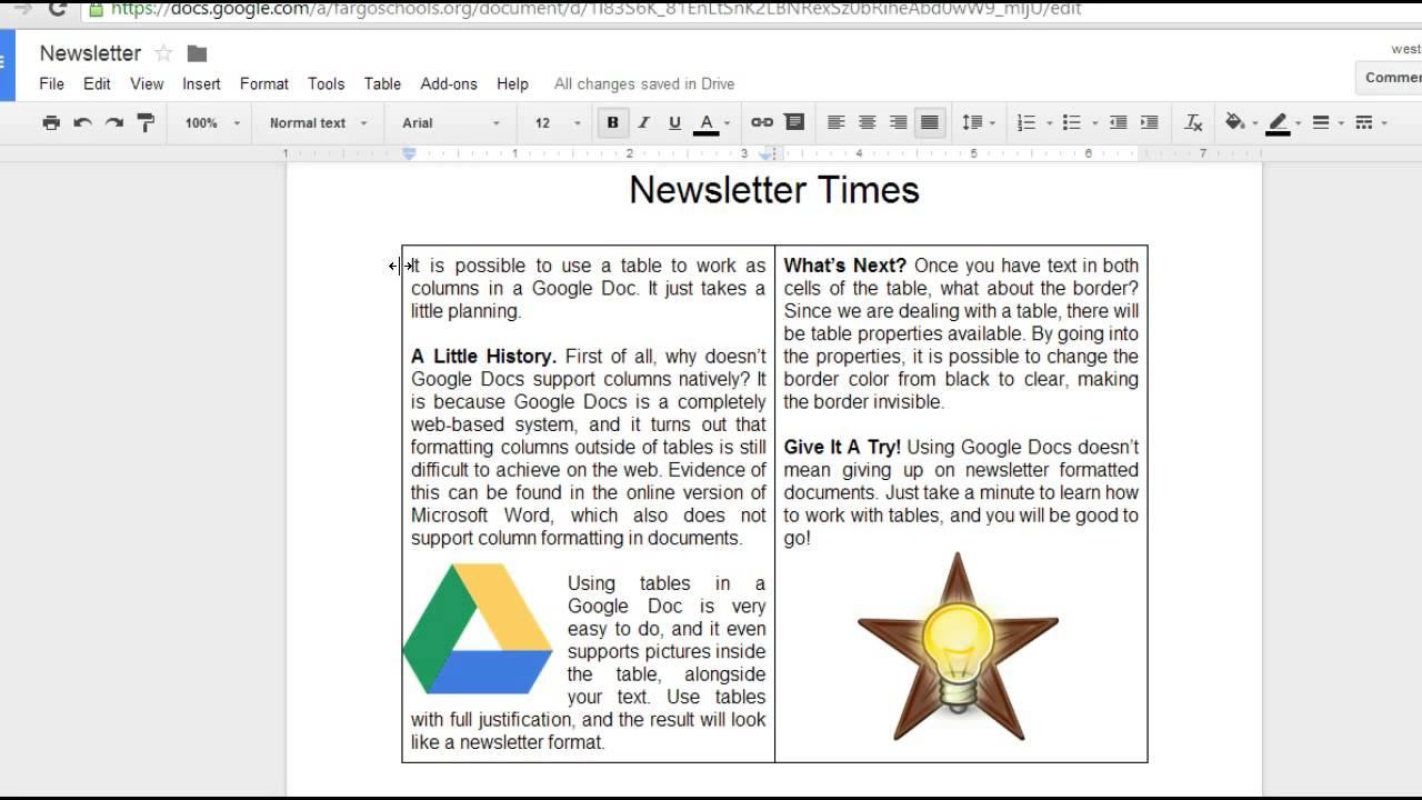 Google Docs Newsletter Youtube