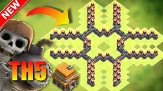 New BEST Th5 Base For Everything! (Trophies, War, Hybrid, Farming Loot) - The Cross - Can't Beat it!