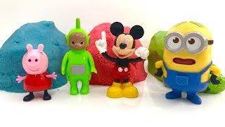 Piasek Kinetyczny i Swinka Peppa, Teletubisie, Myszka Miki i Minionki ☺ Zabawa dla dzieci