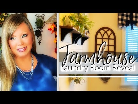 FARMHOUSE LAUNDRY ROOM - DECORATE WITH ME!! DIY WINDOW VALENCE!
