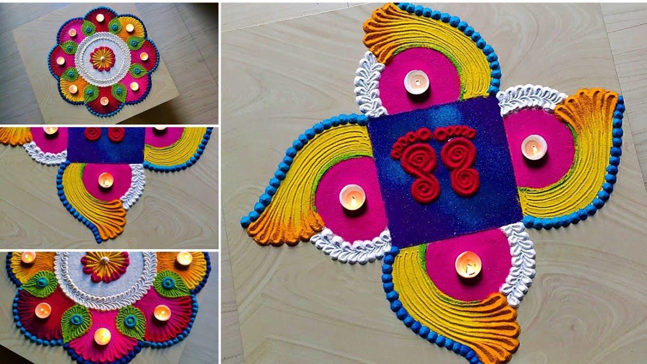 3 diwali special 2020 Dussehra lakshmi Paul rangolis/stress relief satisfying rangoli