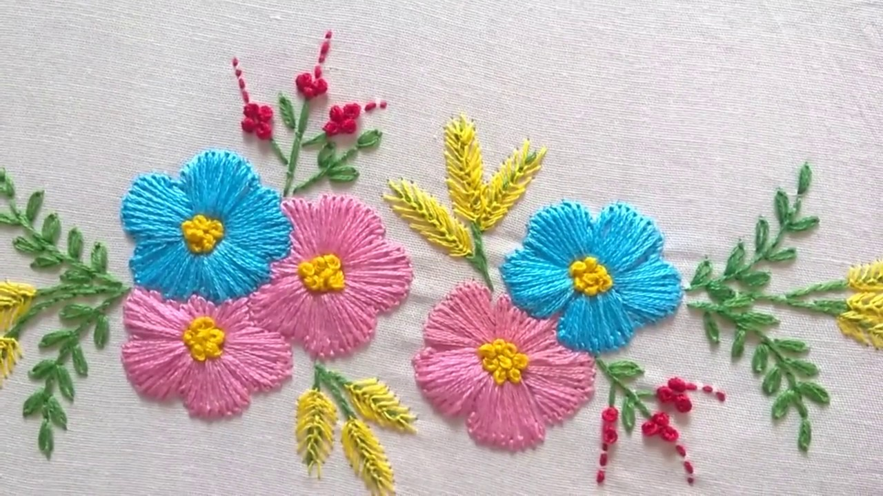 hand embroidery designs tiny design for cushion covers youtube