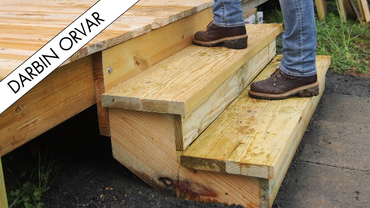 Building Stairs To My Workshop Youtube | 2 Step Outdoor Stairs | Landing | Exterior | Redwood Deck | Cantilever Deck | 8 Foot