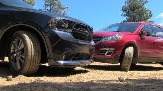 2013 Dodge Durango vs Chevy Traverse Muddy Off-Road Mashup Review (Part 1)