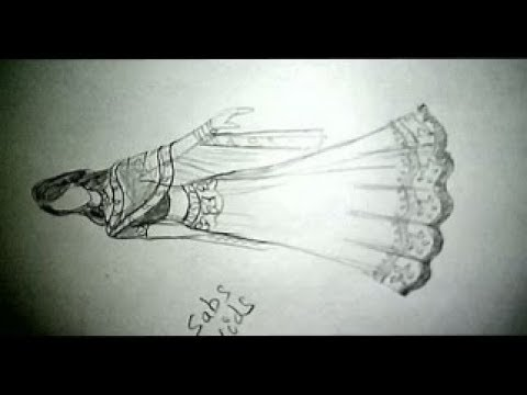 How To Draw Indian Wedding Dress Fashion Illustration Lehanga Design Youtube
