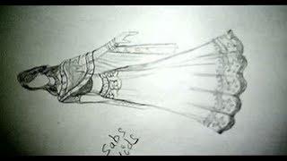 How to draw Indian wedding dress.fashion Illustration lehanga Design