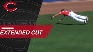 Billy Hamilton lays out in the gap to rob Shohei Ohtani