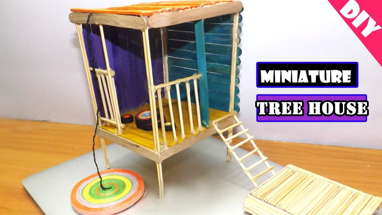 Diy miniature treehouse popsicle stick house backyard for How to build a treehouse with sticks