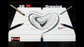 How to Draw 3D Heart with Lines - 3D Trick Art - Easy Drawing for Kids