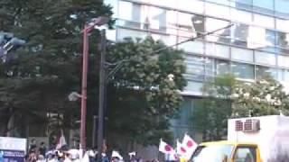反天連(反天皇制運動連絡会)デモ隊を迎える前の九段下交差点の様子です。