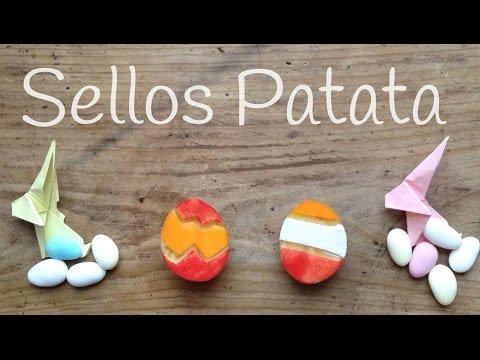 Aprende cómo hacer sellos con patatas, ideal manualidad para pascua