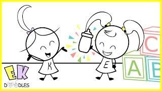 Emma & Kate '' - Milch-Koma'' EK - Doodles, Lustige Karikatur, Animation